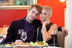 Sweet Young Couple Having Date at Restaurant. Stock Photos