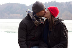 A Sweet Young Couple Kissing. A Sweet Romentic Loving Young Couple Kissing Royalty Free Stock Image