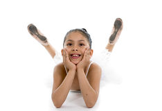 Sweet young cute ballet dancer girl posing on white background Royalty Free Stock Image