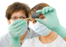 Sweet young doctor examine the dental Rx. Two sweet young doctor examine the dental Rx Stock Image