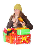 Sweet young girl with christmas present Royalty Free Stock Photo