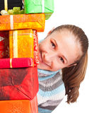 Sweet young girl with christmas present Royalty Free Stock Photos