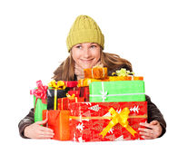Sweet young girl with christmas present Stock Images