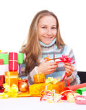 Sweet young girl with christmas present Royalty Free Stock Photography