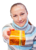 Sweet young girl with christmas presents Stock Images