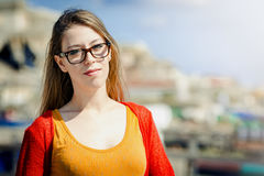 Sweet young girl with glasses Royalty Free Stock Images