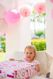 Sweet Young Girl With Her Birthday Present Stock Images