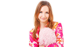 Sweet Young Girl In Pink Pajamas On Bed Stock Image