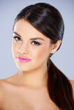 Sweet young girl with pink lipstick stock photos