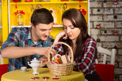 Sweet Young Lovers Dating at the Shop Stock Photography