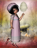 Sweet young vintage girl with candy floss in hand. A 3D rendered image of a young vintage girl with a long dress and candy floss in her hand. She is on a fantasy vector illustration