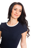 Sweet young woman with black hair Stock Photography