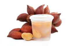 Sweet zalacca with syrup in Plastic cup Stock Photography