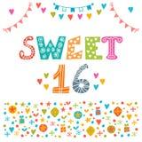 sweet 16 Zaproszenie ulotki szablonu projekt Śliczna ręka rysująca Zdjęcie Royalty Free