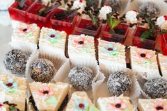 Sweetballs and cake stock images