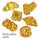 SweetCookies 在一个空白背景的对象 免版税库存照片