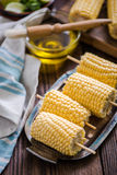 Sweetcorn cob ready for bbq Royalty Free Stock Image