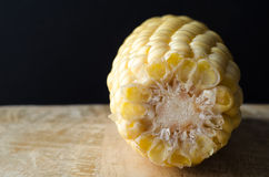 Sweetcorn Cob on Wooden Table Royalty Free Stock Images