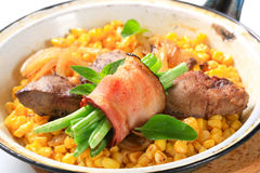 Sweetcorn with fried chicken liver Stock Image
