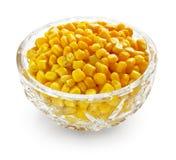 Sweetcorn na bacia de cristal Imagem de Stock Royalty Free