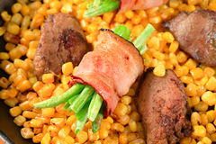 Sweetcorn with pan fried chicken liver Royalty Free Stock Photos