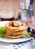 Sweetcorn pancakes Stock Images