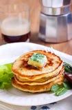 Sweetcorn pancakes Stock Photo