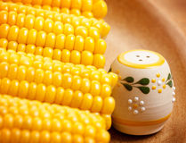 Sweetcorn with saltshaker. Photo of sweetcorn with beautiful saltshaker on the plate, food still life, vegeterian dish, hot boiled corn, ripe yellow maize royalty free stock photography