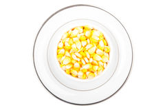 Sweetcorn in white cup on plate Royalty Free Stock Photography