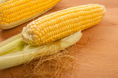 Sweetcorn on wooden table Stock Image