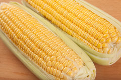 Sweetcorn on wooden table Royalty Free Stock Images