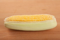 Sweetcorn on wooden table Royalty Free Stock Image