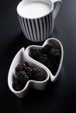 Sweeten pierogi with blackberries Stock Photography