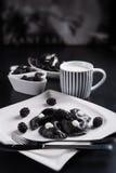 Sweeten pierogi with blackberries - B & W Royalty Free Stock Image