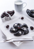 Sweeten pierogi with blackberries - B & W Stock Photography