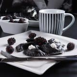 Sweeten pierogi with blackberries - B & W Stock Photos