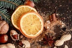 Sweetened Christmas Orange with Nuts Royalty Free Stock Photo
