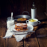Sweetened potato pancakes. A fresh and tasty sweetened potato pancakes Royalty Free Stock Photography