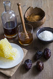 Sweetener ingredients including honey, sugar and maple syrup Stock Photo