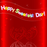 Sweetest day card. Greeting card. Hearts with reflection and banner Stock Photos