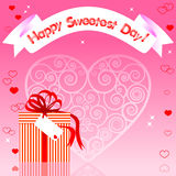 Sweetest day card. Greeting card. Gift with reflection and banner Royalty Free Stock Photography