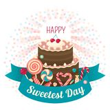Sweetest day concept background, flat style royalty free illustration