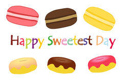 Sweetest day, october, macarons and donuts. Sweetest food Royalty Free Stock Image