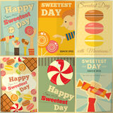 Sweetest Day. Posters Set in Retro Style with Sweets.  Illustration Stock Image