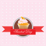 Sweetest Day. Sticker on the day of sweets with the image of a cake Stock Photo