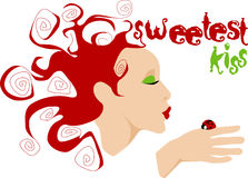 Sweetest kiss. Red haired curly girl kissing ladybug Stock Images