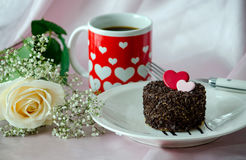 Sweetheart cake and coffee Stock Photography