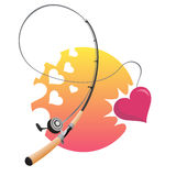 Sweetheart catch. Fishing rod with catching heart Royalty Free Stock Image