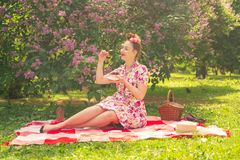 Sweetheart charming pinup girl in a summer dress on a checkered blanket in the Park near the bushes of lilac enjoys life and leisu stock photography