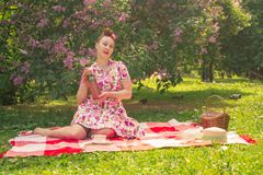 Sweetheart charming pinup girl in a summer dress on a checkered blanket in the Park near the bushes of lilac enjoys life and leisu royalty free stock images
